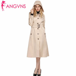 Barato Casaco Caqui Mulher Com Capuz-Atacado- ANGVNS Mulheres Outono Inverno Long Trench Coat Khaki Outwear Hooded Turn down Collar Single Breasted Belted Windbreaker Coats Hat