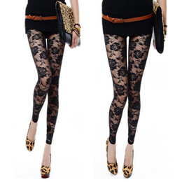 Discount white rose leggings - Wholesale-Black White Rose Lace Through Leggings Pants Footless Sexy For Women Lady