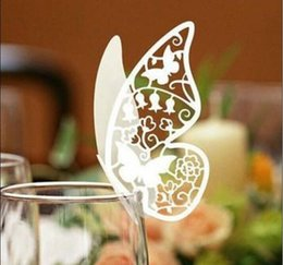 2014 New Butterfly Place Name Card Escort Card Cup Card Wine Glass Card Seat Card Wedding Party Favors Table Decoration 8 Color to choose from passport document wallet suppliers