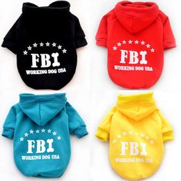 Wholesale fbi clothing online – design 5 Color Cool Pet Dog Shirt Clothes FBI Letter Print Dog Hoodie Sweater Costume Spring Large Dog Puppy Coat Ropa Perro L020