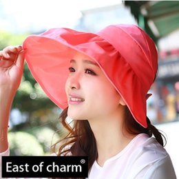 Orange Sun Visors Canada - Wholesale-Fashion Visor Hat Folding Casual Summer Hat For Women UV Sunscreen Large Brimmed Sun Hat Beach Cap chapeu feminino Drop Shipping
