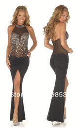 Barato Roupa Interior De Vestidos Longos-w1023 roupa interior preta sexy Halter Diomand New vestido Dress + G Cadeia Longa Pijamas Nightclub Queen Dress Uniform Underwear