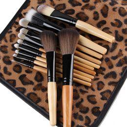 $enCountryForm.capitalKeyWord Canada - 12Pcs set Professional Bamboo Handle Makeup Brushes Kabuki Powder Foundation Lip blusher Cosmetic Brushes Makeup Tools with Leopard Case