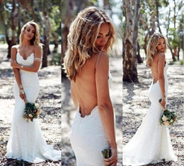 spaghetti strap low back wedding dresses NZ - Sexy Full Lace Backless Wedding Dresses Mermaid Spaghetti Strap Boho Wedding Dress Cheap Sweep Low Back White Bridal Gowns