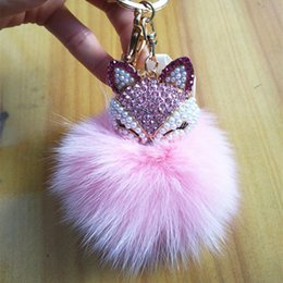 $enCountryForm.capitalKeyWord Canada - Imitation Real Soft Fox fur ball Pearl Fox Head Design Pom Poms keychain Bag Purse HandBag Seller Promotin Gift