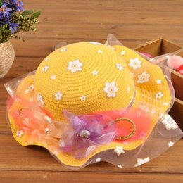 Baby Boys Straw Hats Canada - 2015 New Fashion Korean Children Hats Baby Straw Hat Summer Sun Hat for boys and girls Kids jazz hats baby hat Fashion Bonnet 15