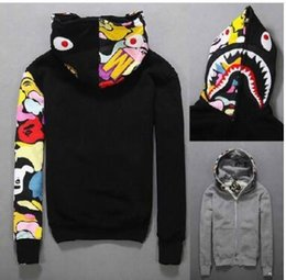 Chaqueta Con Cremallera Baratos-Estilos japoneses Shark Hoodie Hombres Mujeres moda Harajuku Cool fun Cartoon Sweater Jacket WGM Full Zip Hoodie Fleece Cardigan Sweatshirt