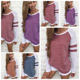 Barato Blusas Planas-Mulheres Plain Striped Splicing T-Shirts Crew Neck Long Sleeve Tops Patchwork Blusa Tops Camisas Roupas 30pcs OOA3457