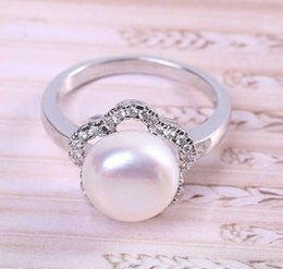 9mm pearl size Canada - Hot sale new Flower shape 8-9mm natural pearl rings S925 Silver J006