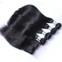 Discount 14 16 18 inch straight weave - 8A Brazilian Virgin Human Hair Weave 4 Bundles with Lace Closure Malaysian Peruvian Indian Cambodian Mongolian Straight