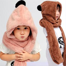 Boys Scarf Gloves Canada - Fleece winter hat scarf gloves set for gril warm hood scarf hat gloves set free shipping