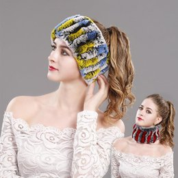 Wholesale Two Ways Real Rex Rabbit Fur Hat Scarf Womens Winter Warm Hand Knit Beanie Neck Wraps