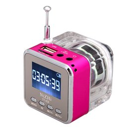 nizhi speakers NZ - NiZHi TT-028 Mini Speaker 6 Colors Digital Portable Music MP3 Player Micro SD TF USB Disk Speaker FM Radio LCD Display Free DHL