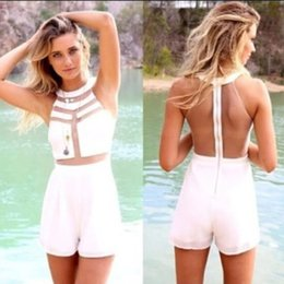 Robe Blanche Sans Manches Pas Cher-Womens Splicing transparent Mid Bodycon jumpsuit Ladies patchwork white sexy party one PIECES bandage robe sans manches bretelles