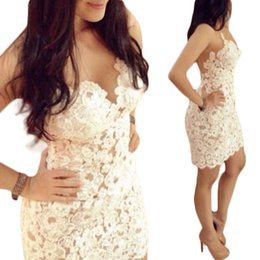 Robe De Dentelle Sexy Blanche Pas Cher-Robe en dentelle blanche Clubwear Sexy Backless Party Slim Cocktail S5Q Femmes Mini Jupes AAADZL