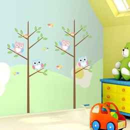wholesale kids glasses Australia - Owls Tree Wall Decal Sticker Kids Room Nursery Wall Art Mural Decor Poster Animals Tree Home Wall Applique Decoration Graphic