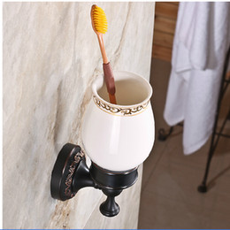 discount oiled bronze bathroom accessories wholesale and retail modern wall mounted tooth brush holder w ceramic