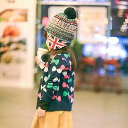 Kids Crochet Beanies Canada - Wholesale Soldiers Jacquard hat crochet baby warm beanies kids Fall and Winter hat 100% cotton baby cap handmade knit windproof Earmuffs cap