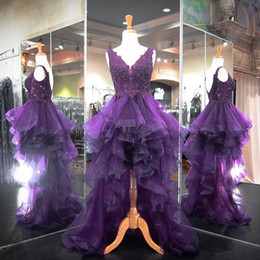 Barato Barato Roxo Mau Vestido Baixo-Moda Elegante Hi Lo Purple Vestidos Homecoming 2017 Puffy Saias Tulle Beaded Lace High Low Prom Dresses Sexy Party Graduation Gowns barato