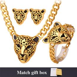 EastErn jEwEllEry online shopping - U7 Africa Jewelry Cool Lion Head Choker Necklace Bracelet for Women Men K Gold Platinum Plated Punk Jewelry Sets Medusa Jewellery NEH727