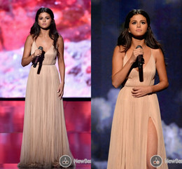 selena gomez champagne evening prom dress 2020 - Hot Champagne Prom Evening Gown with Backless A-Line V-Neck High Split Formal Celebrity Dress for Selena Gomez American