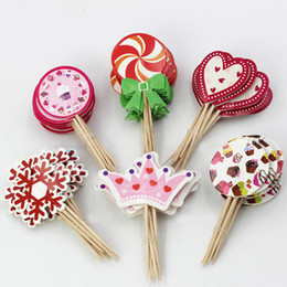 muffins decorations 2019 - Birthday Cake Topper Picks 48 Assorted Muffin Cupake Decor Card Sticks Baking Accessories Cake Decoration SD824 cheap mu