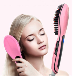 Control Lcd Display Canada - Beautiful Star Hair Straightener Bursh Fast hair Straightening Comb with LCD Display Temprature Control auto Electric Tool EU US UK