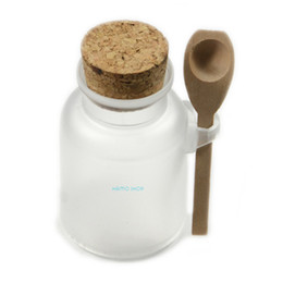 Powder Bottles UK - Wholesale- 1pcs 100g Bath Salt Bottle Powder Cork Seasoning Sauce Cruet Spoon ABS Plastic Jar