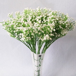 Wholesale Flowers For Wreaths Canada - 21 Pcs Lot Pu Babysbreath Artificial Flowers Real Touch Artificial Bouquet Flowers For Home Wedding Decorative Flowers Wreaths
