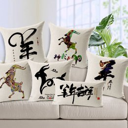 $enCountryForm.capitalKeyWord Canada - Decoration Pillow Case 2015 Sheep Year Chinese Style Cushion Cover Breathable Thick Cotton Linen Square Throw Pillow Cover