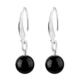 $enCountryForm.capitalKeyWord Australia - New Women Jewelry 925 sterling Silver Natural Red Black Agate Drop Dangle Hook Earrings Ear Rings ear studs eardrop Accessory Onyx Earings