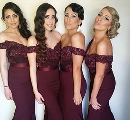 Barato Caixilhos De Vinho-Sexy Dark Wine Red 2016 Vestidos baratos da dama de honra Mermaid Lace Beads Sash Vestido Longo Charming Maid of Honor Dress Custom made Plus Size