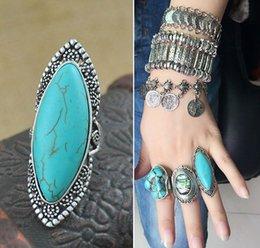 Discount bobo fashion - Fashion Vintage Bohemian Turquoise Rings For Women Antique Silver Alloy Carving Ring Gypsy Bobo Beach Jewelry Wholesale