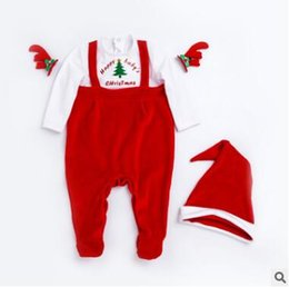 Barato Macacões Do Inverno Dos Meninos-Christmas Infant Xmas Santa Claus Costume Boys Girls Red Long Sleeve Rompers Outono Inverno Unisex Newborn Toddler Christmas Party Vestuário