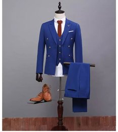Costume Masculin Bleu Pas Cher-Costume Mens Costumes Slim Fit Marié Smokings Mariage Males Costumes 3 Pièces (Veste + Pantalon + Gilet) Royal Blue Suit Design