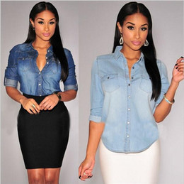 Light Blue Denim Shirt Women Suppliers | Best Light Blue Denim ...