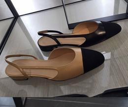 78bc1ccca u530 40 black beige genuine leather sling back matched flat shoes sandals c  luxury designer