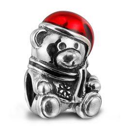 Enamel Bear Charms Canada - 100% 925 Sterling Silver Beads Fit Pandora Charms Bracelet DIY Brand Fashion Jewelry Christmas Bear Red & Green Enamel