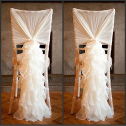 $enCountryForm.capitalKeyWord Canada - Upscale White Ivory Pink Chiffon Chair Covers Sash Bow for Weddings Banquet Event Decorations Supplies Free Shipping 100pcs lot