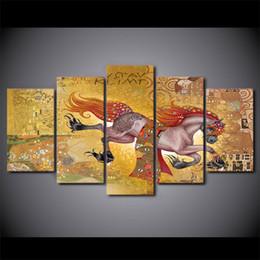 $enCountryForm.capitalKeyWord Australia - 5 Panel Framed HD Printed Gustav Klimt Horse Poster Canvas Oil Painting Wall Pictures For Living Room Arts