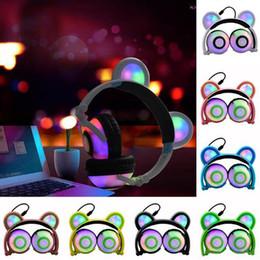 Bears headphones online shopping - Fashion Colorful Foldable Headset LED Light Glowing Bear Ear Music Headphone mm Jack Stereo Wire Earphone For Phone PC