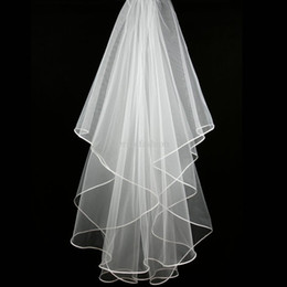 China Cheap Real Image Stock 1 Layer White Ivory Wedding Satin Edge Comb Veils For Wedding Dresses Gowns Bridal Accessories Hot Sale supplier one shoulder sale wedding dresses suppliers