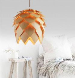Hall oaks online shopping - DIY Art OAK Wooden Artichoke Lamp Hanging Wood IQ Puzzles Pinecone Pendant Light Wood