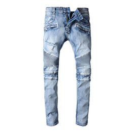 Barato Drapeja Calças Masculinas-High Fashion Mens Biker Denim Jeans Hommes Draped Ripped Jeans Slim Fitness Homens Pierre Elegante Calças Casual Superstar Rock Jeans