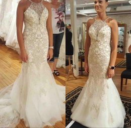 Barato Vestidos De Noiva Com Renda Vintage-2018 Elegant Mermaid Wedding Dress Lace Appliqued Beaded Sequins Vestidos Backless Tulle Sweep Train Bridal Gowns