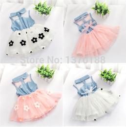 Princess One Piece White Dress Canada - New summer Baby Girls Kids Princess One-pieces Denim Dress floral tutu dress kids clothes