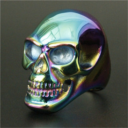 Men Size 15 Rings Australia - Size 8-15 Band Party Polishing Big Skull Ring 316L Stainless Steel Cool Fashion Men Boy Colorful Biker Skull Ring