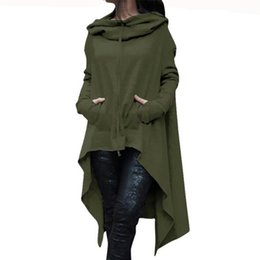 Barato Mulheres Assimétricas Hoodie-2017 New Summer Asymmetrical Loose Hoodies Coat Solid Color Mulheres Moda Lady Autumn Hoodie Long Hooded Hot Sale