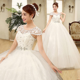Wholesale Cheap China Spring and Summer Autumn Love sweet slit neckline princess wedding dress luxury diamond puff White wedding dress