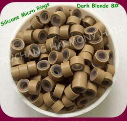 $enCountryForm.capitalKeyWord NZ - ( 1000pcs bag ) 4.5mm Dark Blonde Aluminum Silicone Micro Rings for Pre-tip Hair Extensions Hair Extension Tools